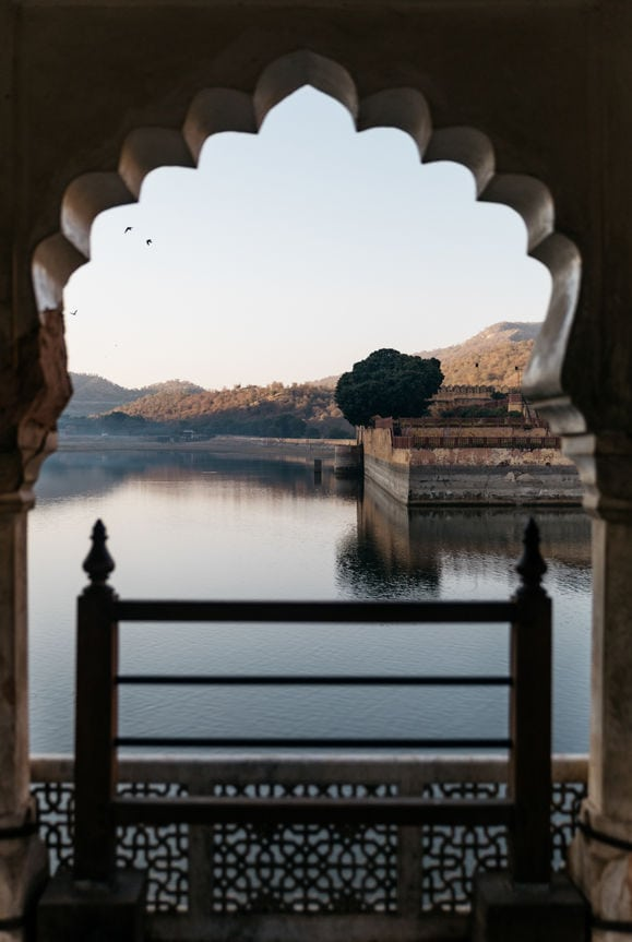 Lake Reflection Through Indian Window Frame India Fort